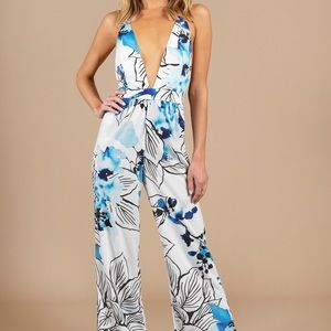Tropical Blue Jumpsuit NWT